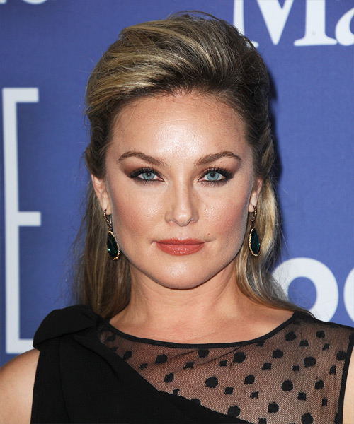 Elisabeth Rohm Half Up Long Curly Formal Half Up Hairstyle