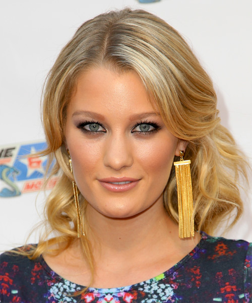Ashley Hinshaw Half Up Long Curly Formal Half Up Hairstyle