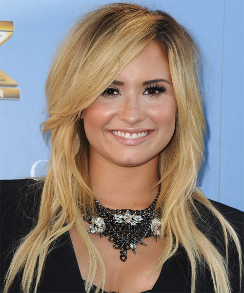 Demi Lovato Long Straight Casual Hairstyle - Light Blonde Hair Color