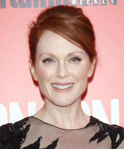 Julianne Moore Casual Straight Updo Hairstyle