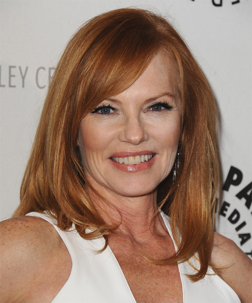 Marg Helgenberger Medium Straight Casual  with Side Swept Bangs - Medium Red (Copper)