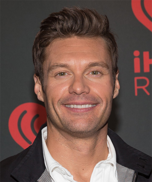 Ryan Seacrest Short Straight Hairstyle - Medium Brunette (Chocolate)