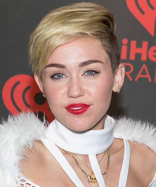 Miley Cyrus Short Straight Casual Hairstyle - Medium Blonde (Golden) Hair Color