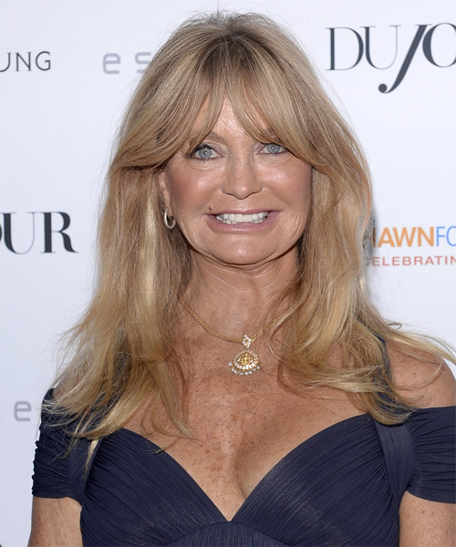 Goldie Hawn Long Straight Hairstyle - Medium Blonde (Champagne)