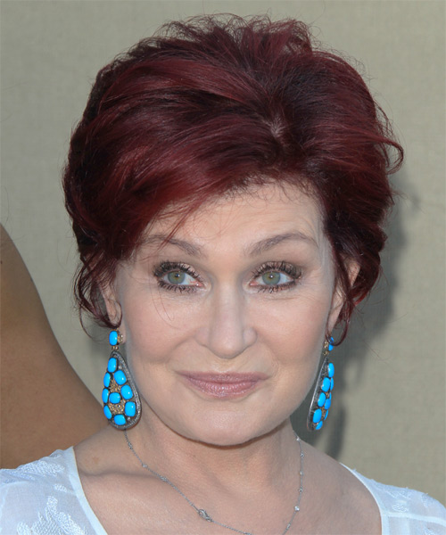 Sharon Osbourne short red hairstyle