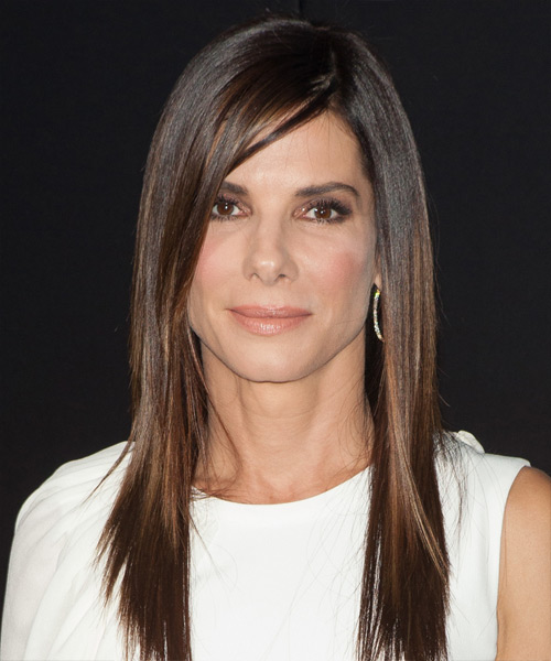 Sandra Bullock Long Straight Formal Hairstyle - Medium Brunette Hair Color