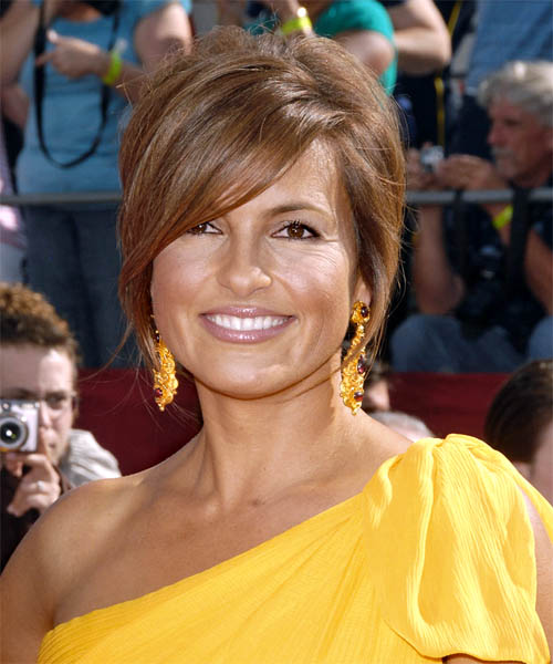 Mariska Hargitay Short Straight Formal Half Up Hairstyle - Light Brunette (Chestnut) Hair Color