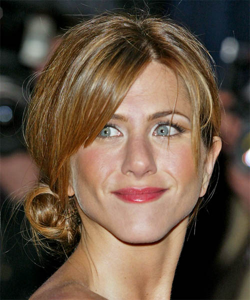 Jennifer Aniston Casual Straight Updo Hairstyle