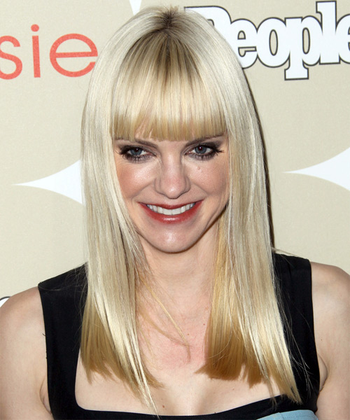 Anna Faris Long Straight Hairstyle - Light Blonde (Platinum)