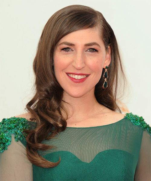 Mayim Bialik Long Wavy Hairstyle