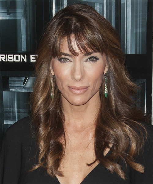 Jennifer Flavin Long Wavy Casual Hairstyle with Layered Bangs - Medium Brunette Hair Color