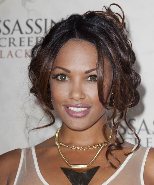 K D Aubert Curly Casual Updo Hairstyle - Dark Brunette Hair Color