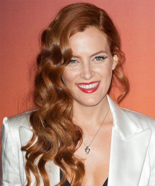 Riley Keough Long Wavy Formal Hairstyle - Medium Red (Ginger) Hair Color