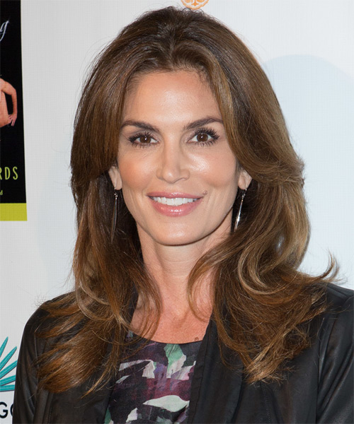 Cindy Crawford Long Straight Casual Hairstyle - Medium Brunette Hair Color