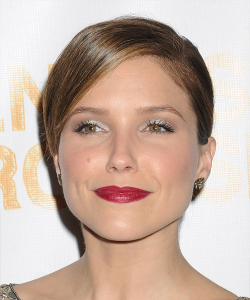 Sophia Bush Straight Casual Updo Hairstyle with Side Swept Bangs - Medium Brunette Hair Color