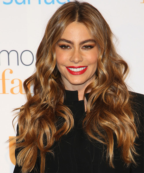 Sofia Vergara Long Wavy Casual Hairstyle - Medium Brunette (Auburn) Hair Color