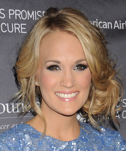Carrie Underwood Long Curly Formal Updo Hairstyle Blonde