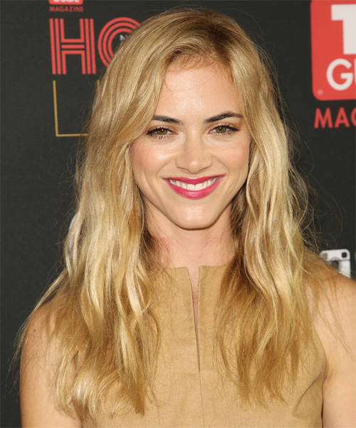 Emily Wickersham Long Straight Casual Hairstyle - Medium Blonde (Honey) Hair Color