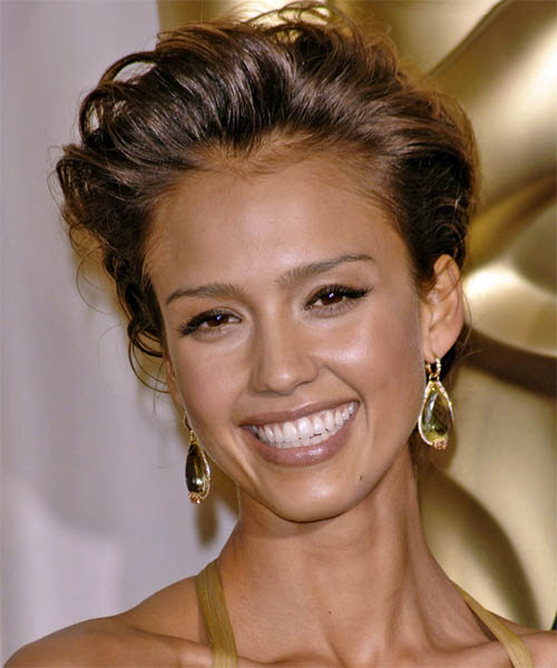 Jessica Alba Formal Curly Updo Hairstyle - Medium Brunette (Mocha)