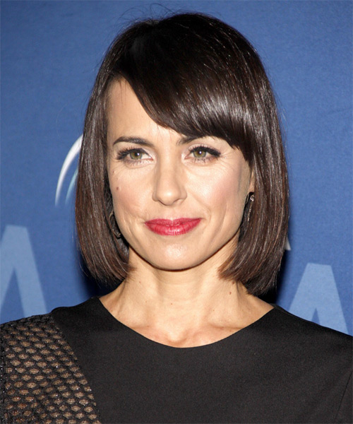 Constance Zimmer Medium Straight Formal Bob Hairstyle with Side Swept Bangs - Dark Brunette Hair Color