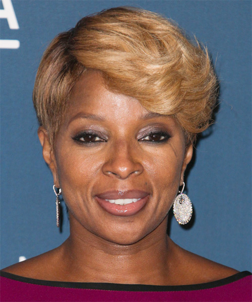 Mary J Blige Short Straight Formal Hairstyle - Dark Blonde (Honey) Hair Color