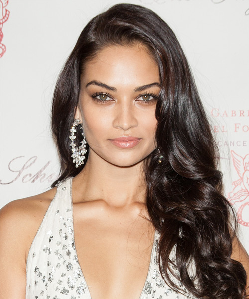 Shanina Shaik Long Wavy Formal  - Dark Brunette (Mocha)