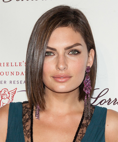 Alyssa Miller Medium Straight Formal Bob Hairstyle - Medium Brunette (Chocolate) Hair Color