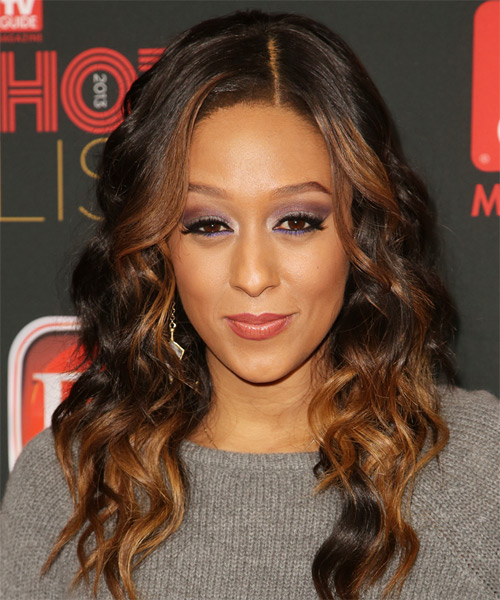 Tia Mowry Long Wavy Casual Hairstyle - Dark Brunette (Auburn) Hair Color