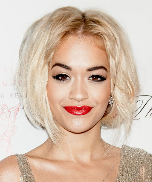 Rita Ora Short Straight Casual Bob Hairstyle - Light Blonde (Platinum) Hair Color