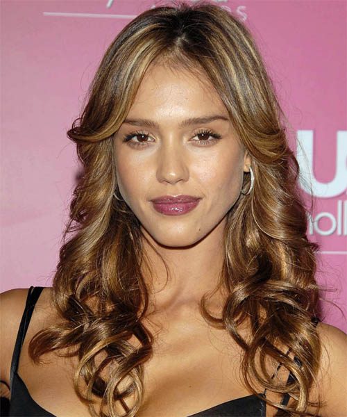 Jessica Alba Long Wavy Formal Hairstyle - Medium Brunette (Chestnut) Hair Color