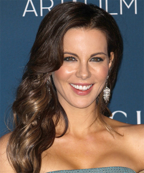 Kate Beckinsale Long Wavy Formal Hairstyle - Dark Brunette Hair Color