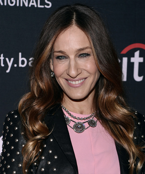 Sarah Jessica Parker Long Wavy Casual Hairstyle - Dark Brunette Hair Color