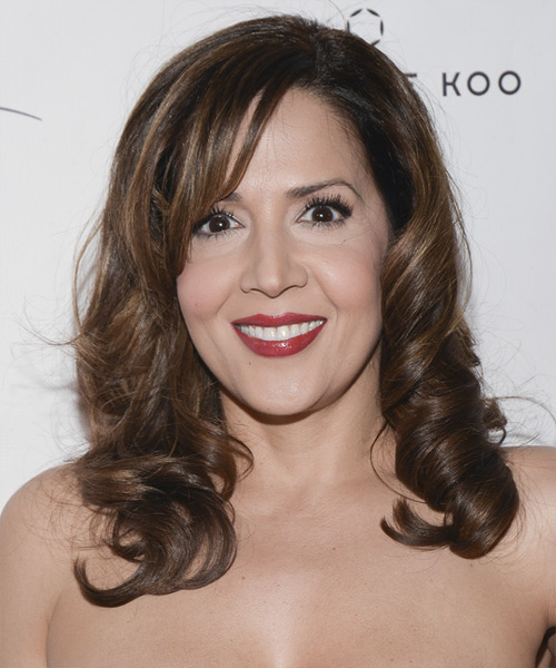 Maria Canals Barrera Long Curly Formal Hairstyle with Side Swept Bangs - Medium Brunette Hair Color