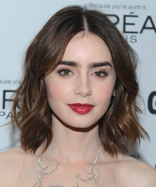 Lily Collins Medium Straight Casual Hairstyle - Medium Brunette (Mocha) Hair Color