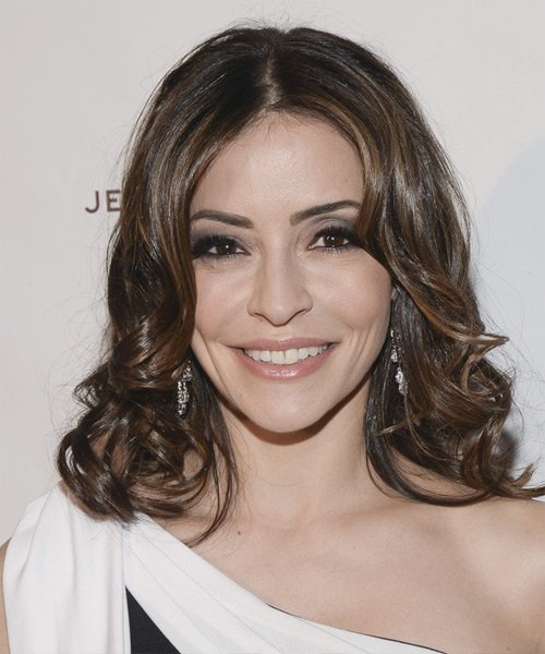 Emmanuelle Vaugier Medium Wavy Hairstyle - Medium Brunette (Chocolate)