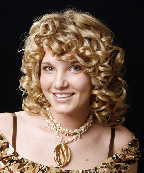Medium Curly Formal Hairstyle - Medium Blonde Hair Color