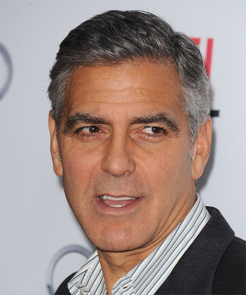 George Clooney Short Straight Hairstyle - Dark Grey