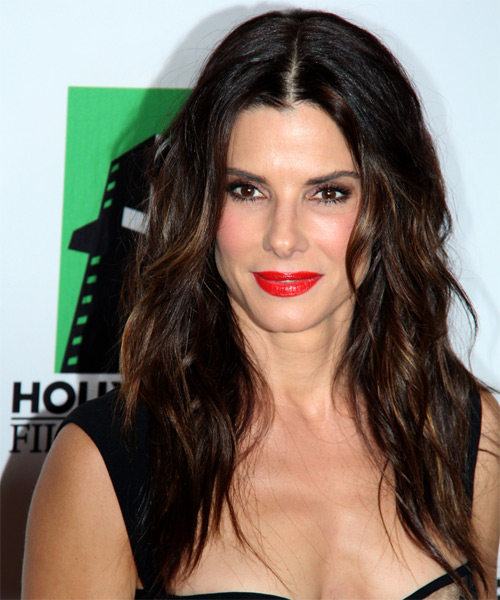 Sandra Bullock Long Wavy Hairstyle - Dark Brunette