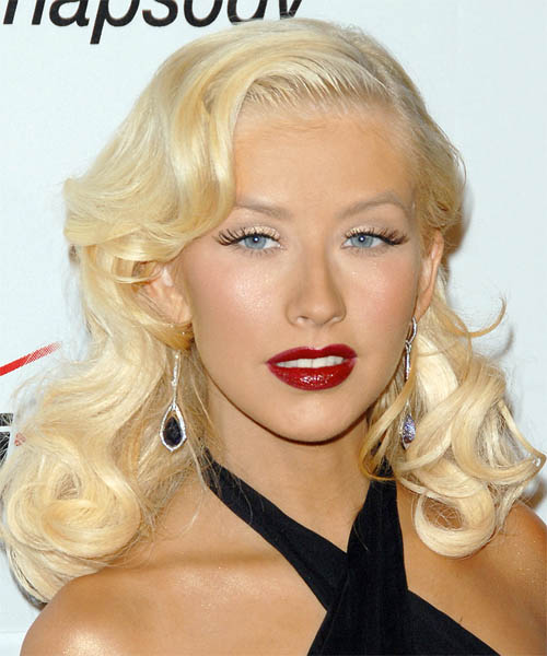 Christina Aguilera Long Wavy Hairstyle - Light Blonde