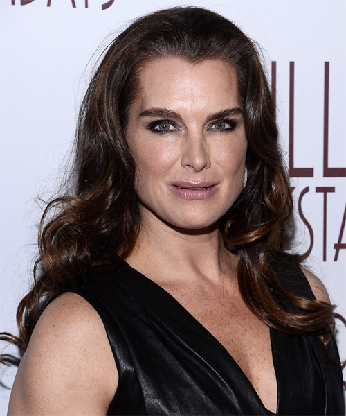 Brooke Shields Long Wavy Formal Hairstyle - Medium Brunette (Mocha) Hair Color