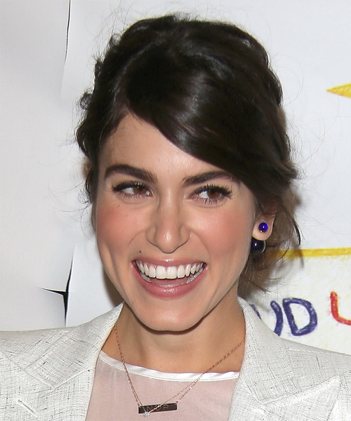 Nikki Reed Straight Casual Updo Hairstyle - Dark Brunette Hair Color