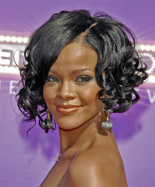 Rihanna Medium Curly Hairstyle - Black