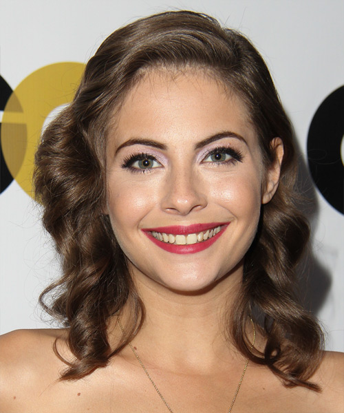 Willa Holland Medium Wavy Hairstyle - Medium Brunette (Ash)