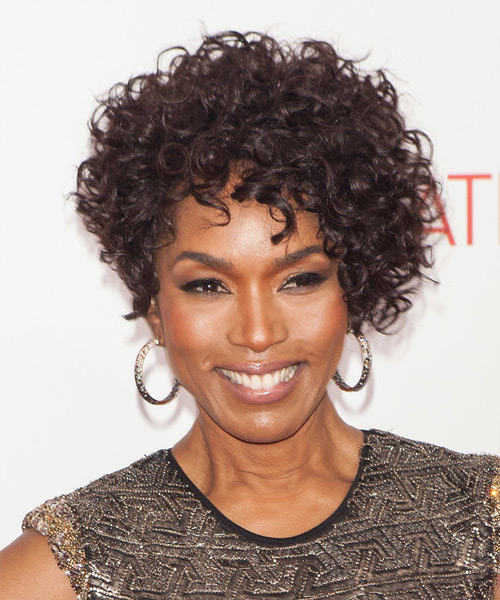 Angela Bassett Short Curly Hairstyle - Dark Brunette (Mocha)