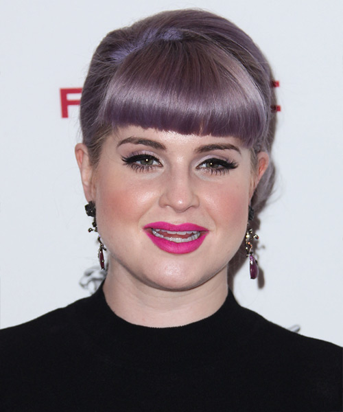 Kelly Osbourne Straight Formal Updo Hairstyle with Blunt Cut Bangs - Purple Hair Color