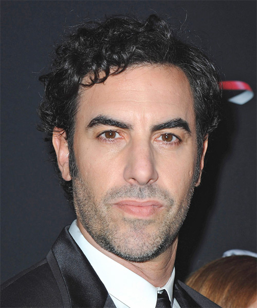 Sacha Baron Cohen Short Curly Casual Hairstyle - Black Hair Color