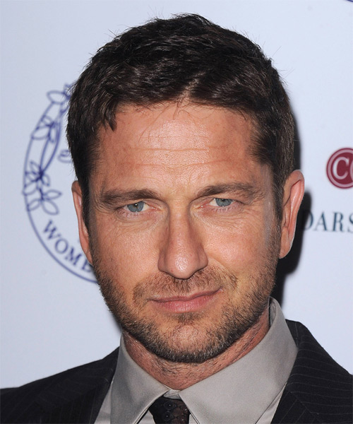 Gerard Butler Short Straight Hairstyle - Dark Brunette