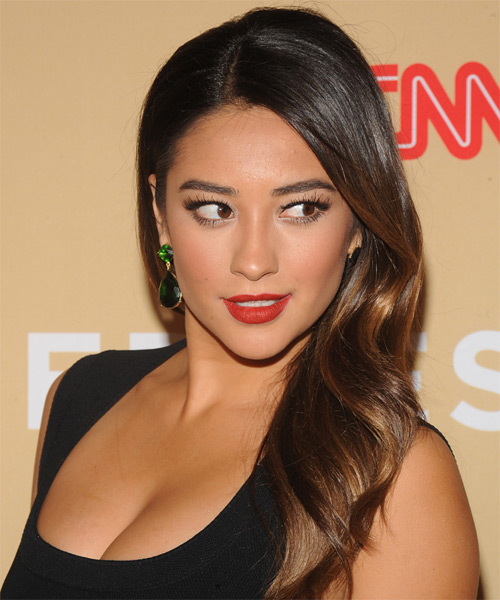 Shay Mitchell Long Straight Hairstyle - Dark Brunette