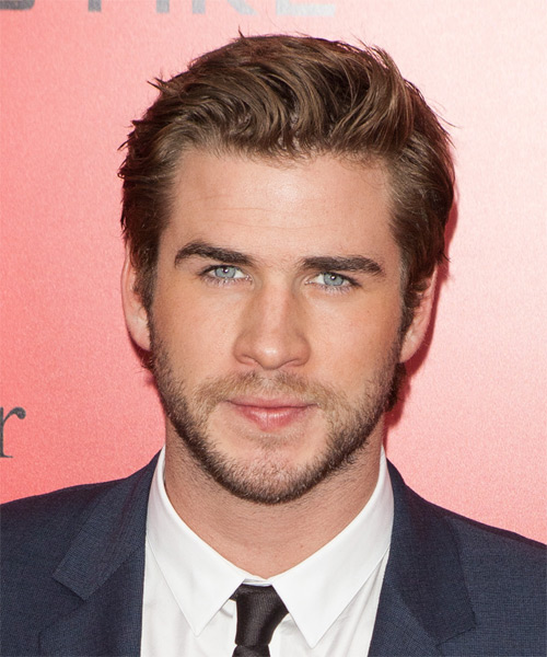 Liam Hemsworth Short Straight Casual Hairstyle - Medium Brunette (Caramel) Hair Color
