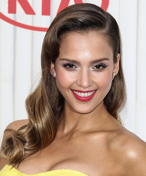 Jessica Alba Long Wavy Formal Hairstyle - Dark Brunette (Chestnut) Hair Color